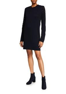 See by Chloé Ribbed Long-Sleeve Shift Dress