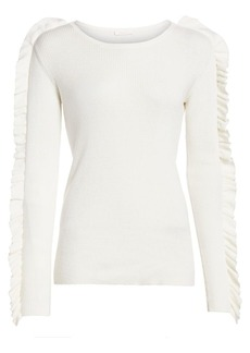 See by Chloé Ruffle Long-Sleeve Silk-Blend Rib-Knit Sweater