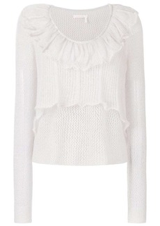 See by Chloé ruffle open knit sweater