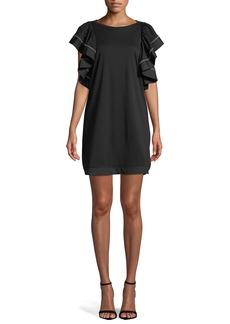 See by Chloé Ruffle-Sleeve Shift Mini Dress