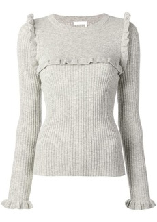 See by Chloé ruffle trim knitted sweater