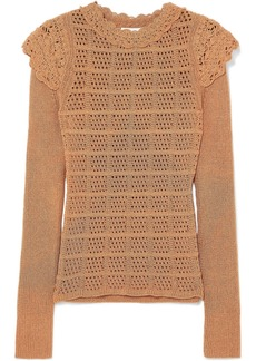 See by Chloé Ruffle-trimmed Pointelle-knit Sweater