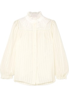 See by Chloé Ruffle-trimmed Striped Cotton-blend Jacquard Blouse
