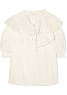 See by Chloé Ruffled Broderie Anglaise Cotton Blouse