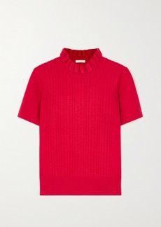 See by Chloé Ruffled Cable-knit Sweater