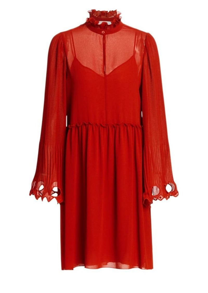 See by Chloé Ruffled Collar Bell Sleeve Georgette Shirtdress