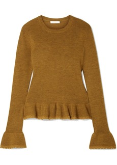 See by Chloé Ruffled Crochet-trimmed Wool Sweater