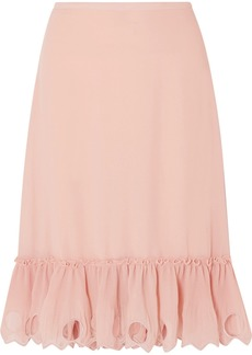 See by Chloé Ruffled Cutout Georgette Midi Skirt