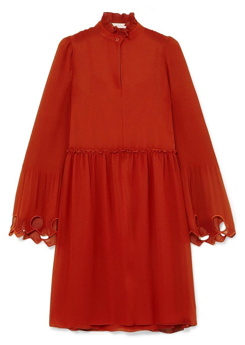 See by Chloé Ruffled Cutout Georgette Mini Dress