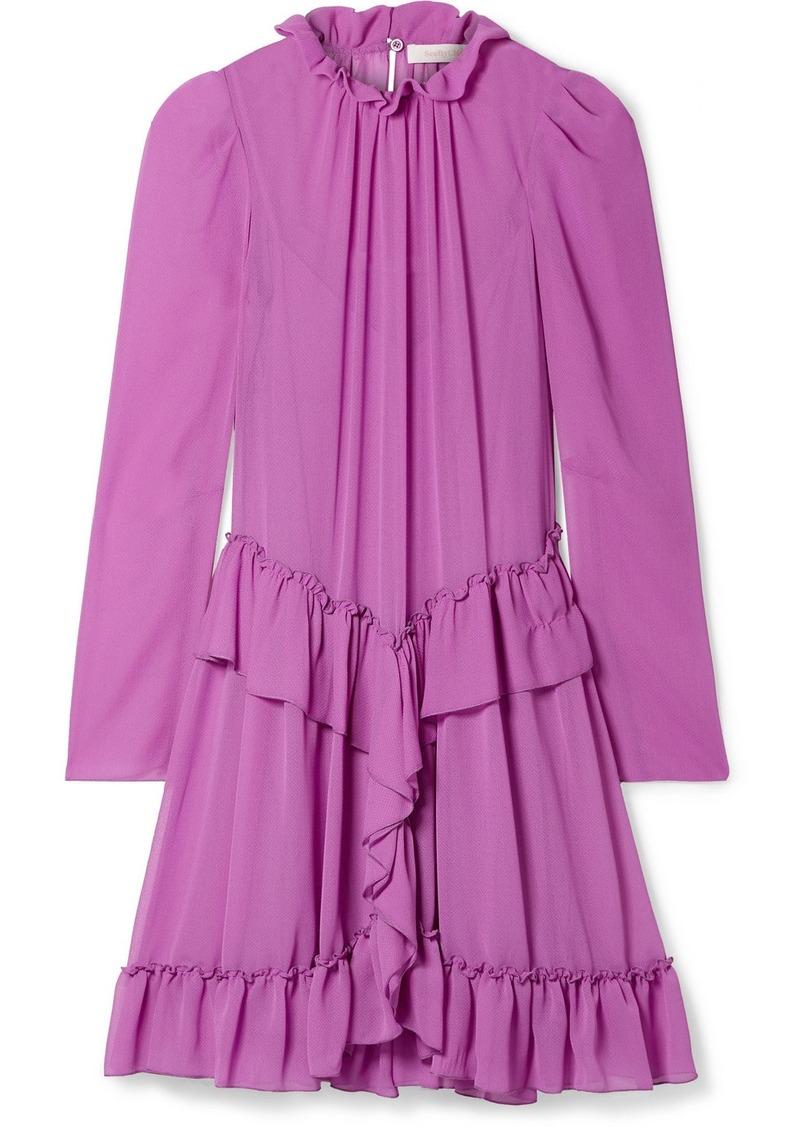 See by Chloé Ruffled Georgette Mini Dress