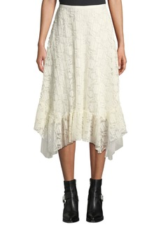 See by Chloé Ruffled Lace Asymmetrical Midi Skirt