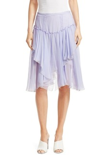See by Chloé Ruffled Silk A-Line Handkerchief Skirt