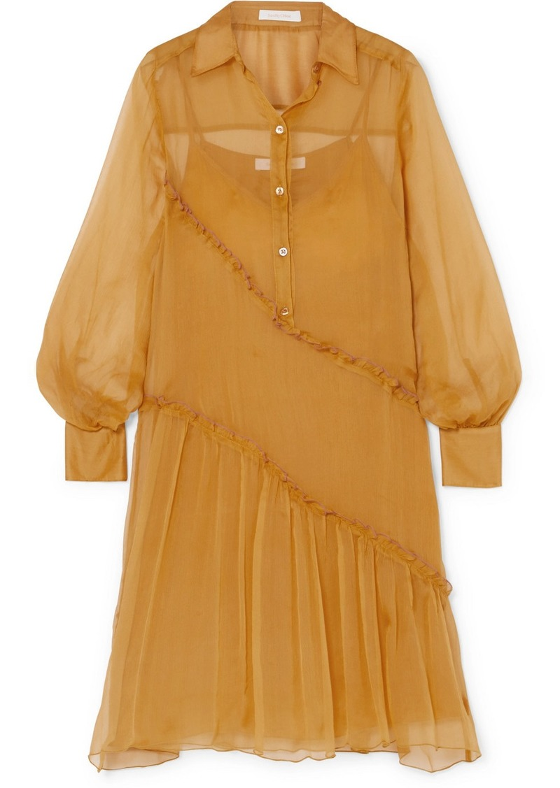 See by Chloé Ruffled Silk-crepon Dress