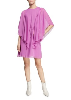 See by Chloé Ruffled Tie-Waist Cape-Sleeve Short Dress