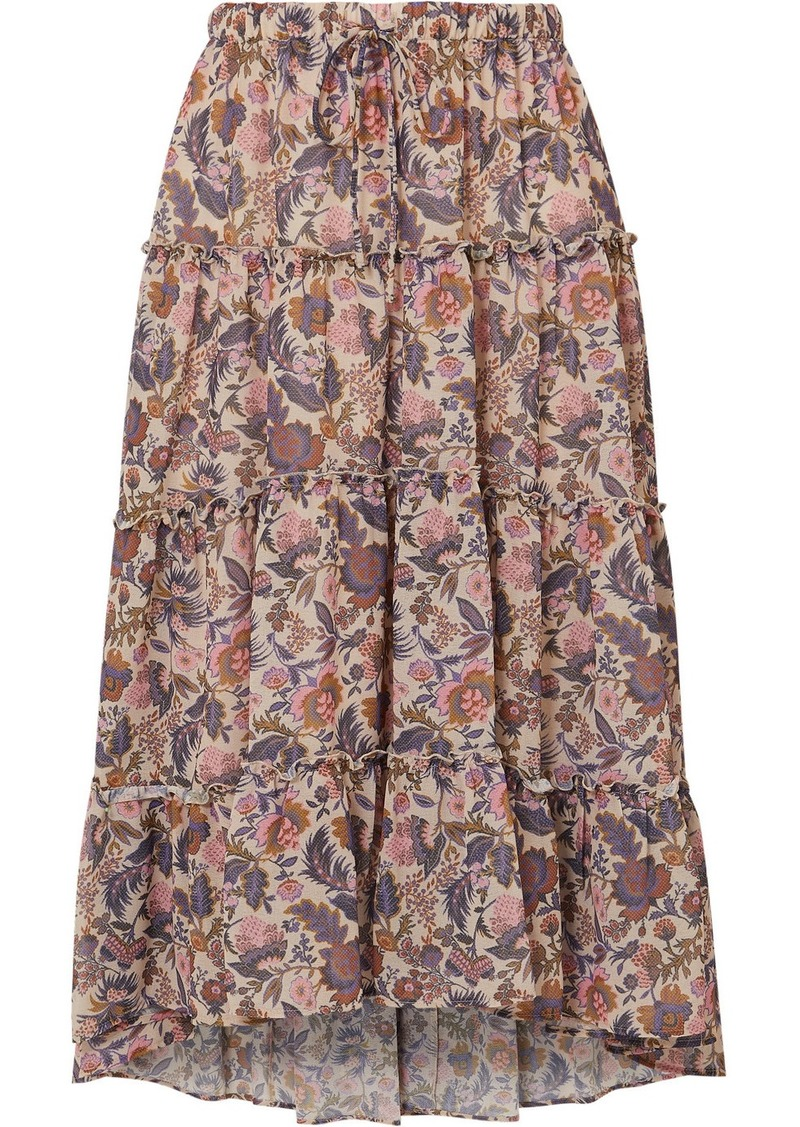 See by Chloé Ruffled Tiered Floral-print Georgette Midi Skirt