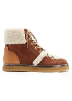 See By Chloé Aileen shearling-trimmed suede ankle boots