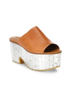 See by Chloé Arina Leather & Metallic Wedge Platform Mules
