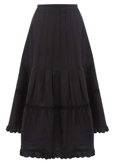 See By Chloé Asymmetric hem cotton-poplin midi skirt