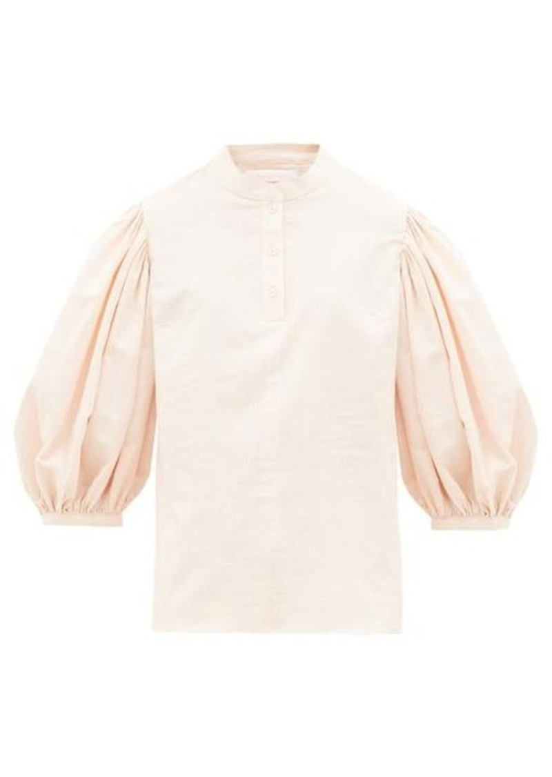See By Chloé Balloon-sleeve stripe-jacquard cotton blouse