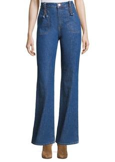 Braided Wide-Leg Jeans