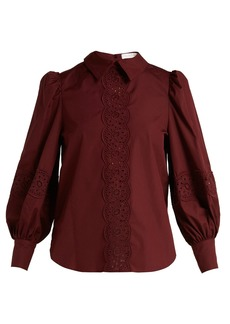 See By Chloé Broderie-anglaise cotton-poplin blouse