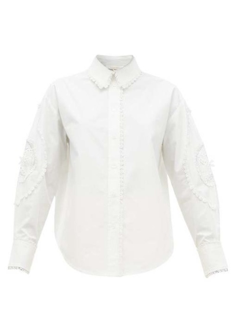 See By Chloé Broderie-anglaise cotton-poplin shirt