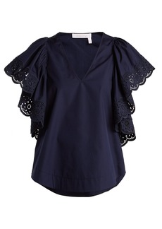 See By Chloé Broderie-anglaise cotton-poplin top