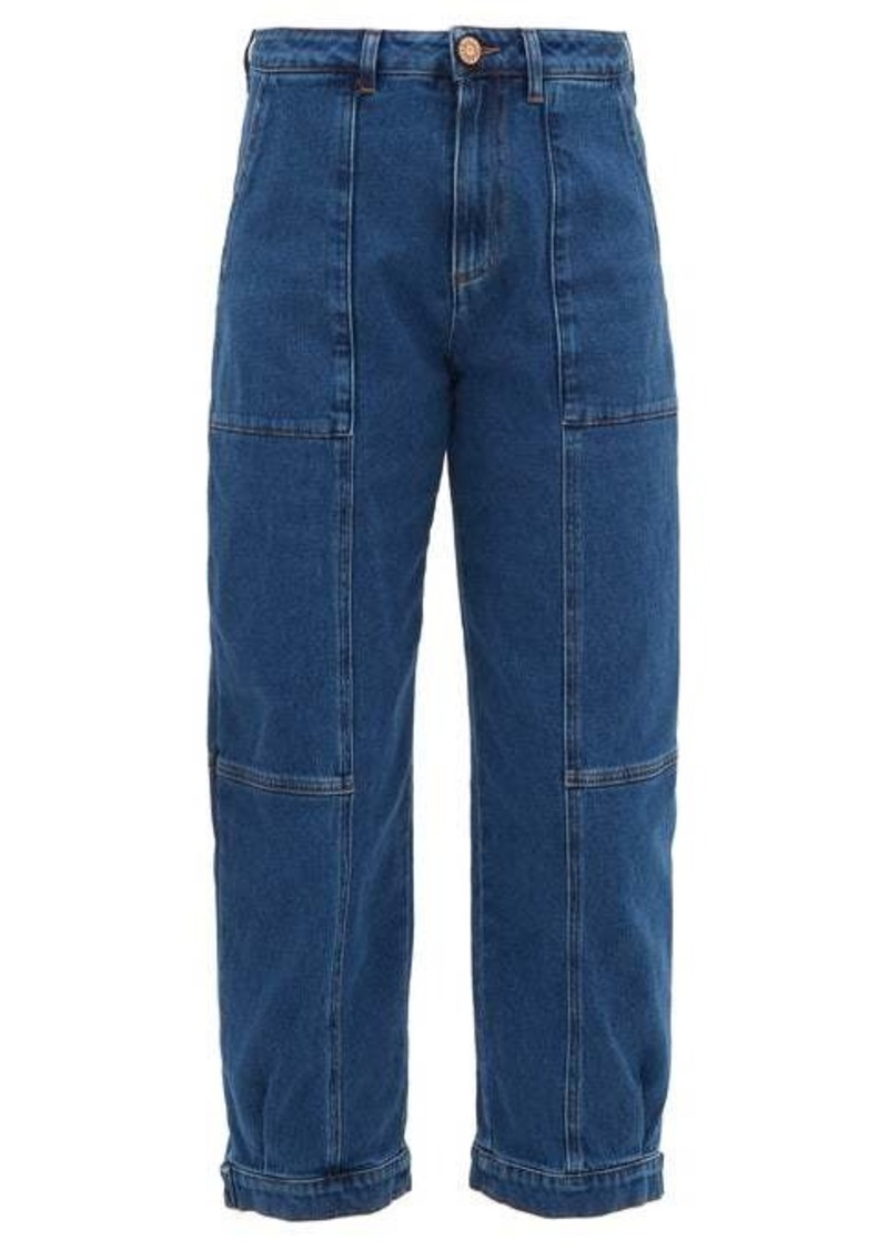 See By Chloé Button-cuff panelled high-rise jeans