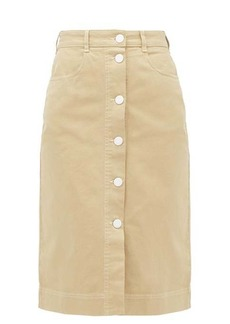 See By Chloé Buttoned high-rise brushed-cotton skirt