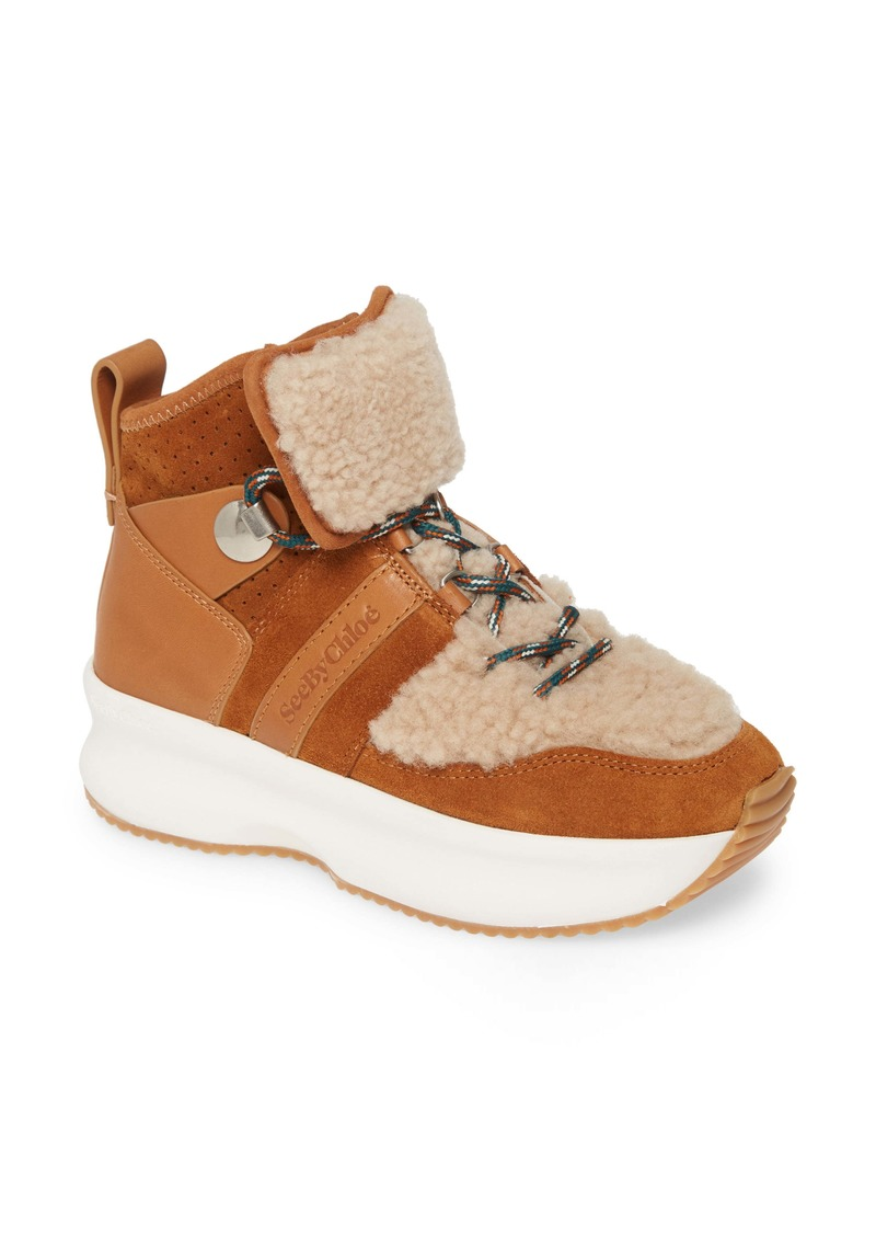 See by Chloé Casey Genuine Shearling Trim Platform Sneaker (Women)