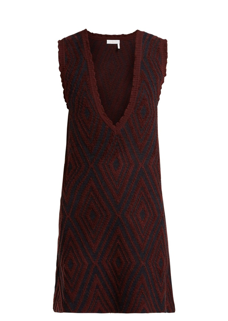 See By Chloé Chevron jacquard-knit wool dress