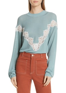 See by Chloé Chevron Lace Sweater