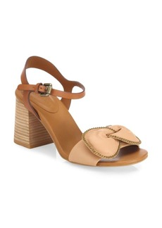 See by Chloé Clara Chain-Trim Leather Bow Sandals
