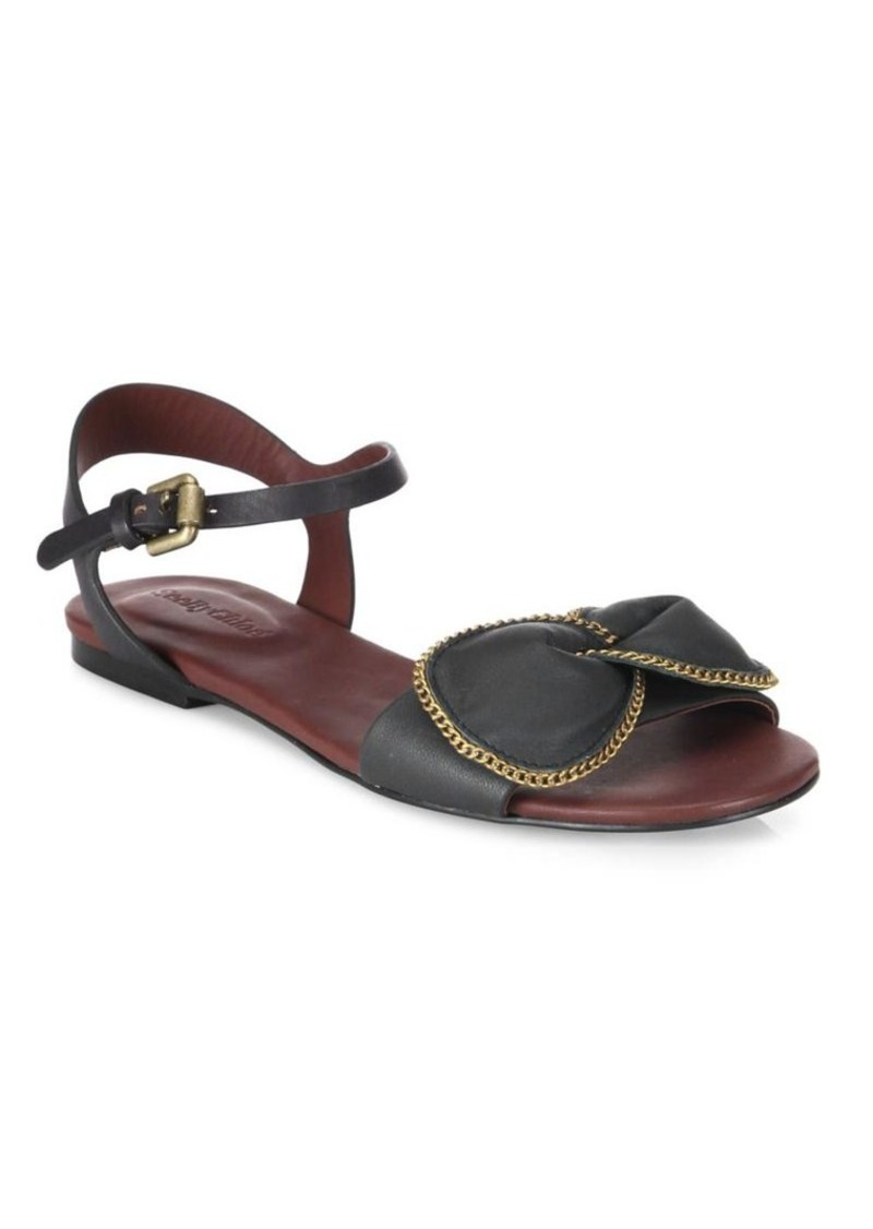 See by Chloé Clara Chain-Trim Leather Flat Sandals