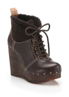 See by Chloé Clive Faux Leather & Shearling Clog Wedge Booties