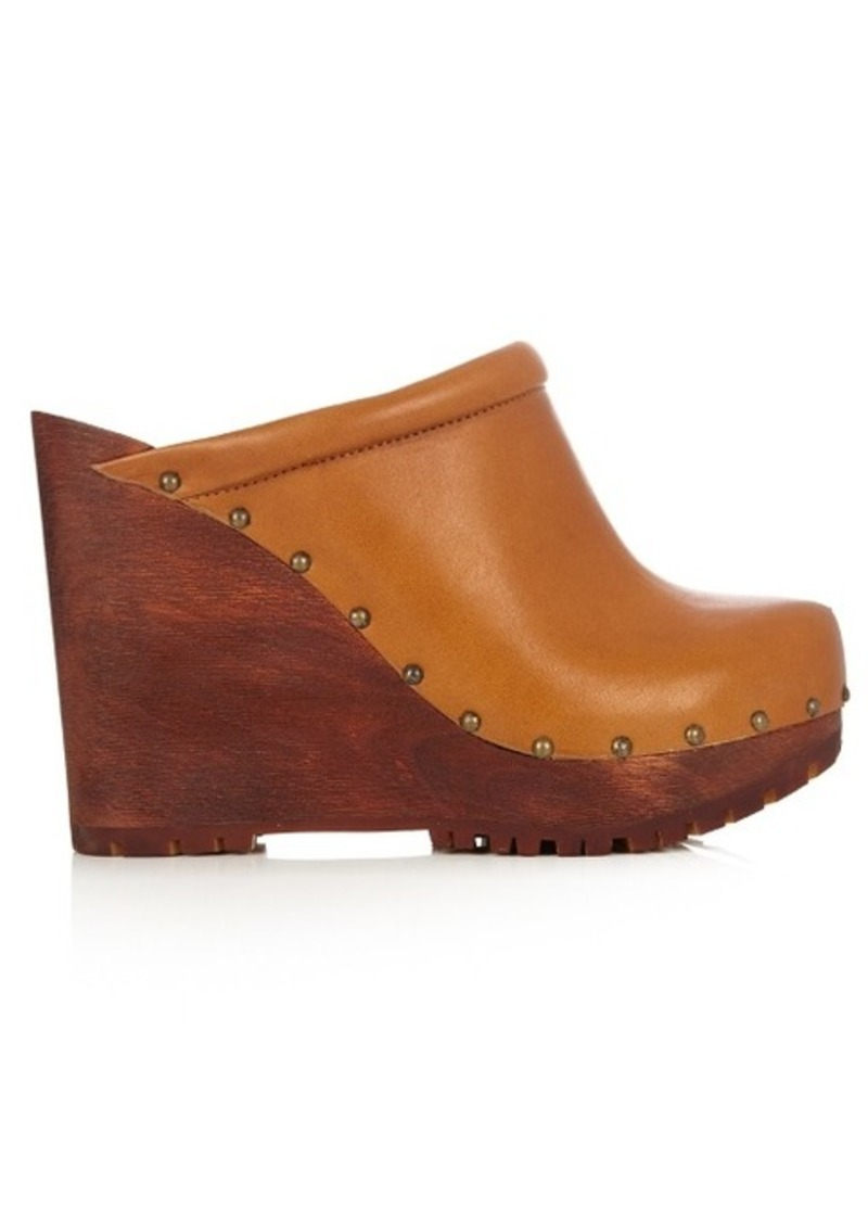 See By Chloé Clive leather wedge clogs