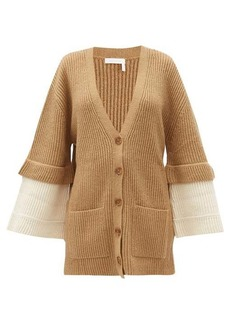 See By Chloé Contrast-cuff ribbed-knit cardigan
