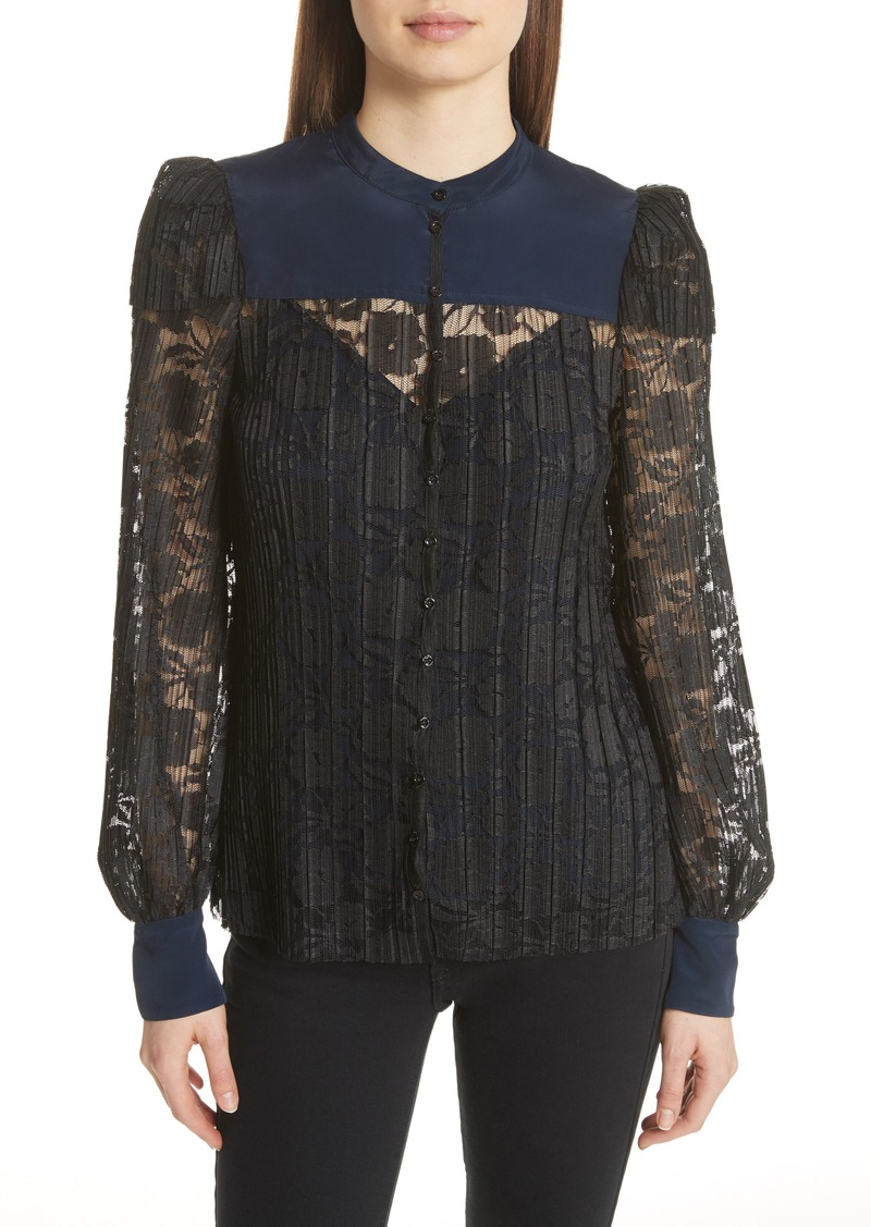 500e78f0c62cb See by Chloé See by Chloé Contrast Detail Silk Lace Blouse