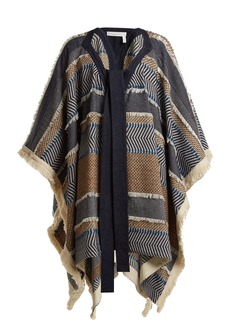 See By Chloé Contrast-panel striped woven poncho