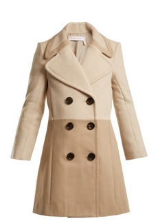 See By Chloé Contrast-panel wool-blend and twill coat