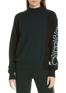 See by Chloé See by Chlo? Contrast Sleeve Jacquard Logo Sweater