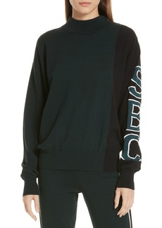 See by Chloé Contrast Sleeve Jacquard Logo Sweater