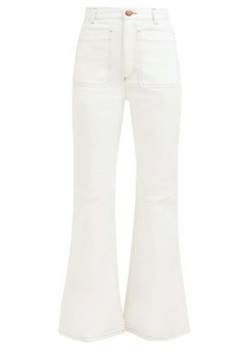 See By Chloé Contrast-stitch high-rise flared jeans
