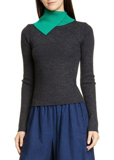 See by Chloé Contrast Turtleneck Ribbed Wool Sweater