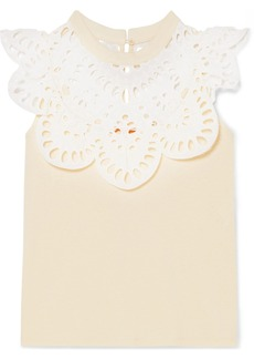 See by Chloé Cotton-jersey And Broderie Anglaise Top