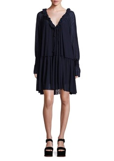See by Chloé Crepe Pleated Ruffle Dress