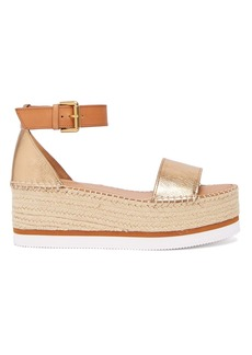 See By Chloé Crinkle-effect leather flatform espadrilles
