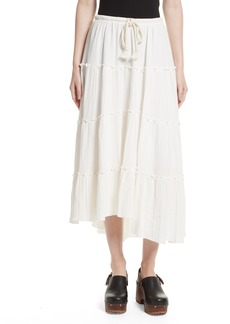 See by Chloé Crinkled Cotton Midi Skirt