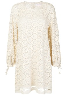 See By Chloé crochet balloon sleeve dress - White