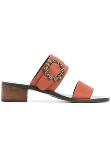 See By Chloé crystal buckle sandals - Brown